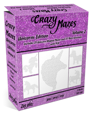 Zen PLR Crazy Mazes Unicorns Edition Volume 02 Product Cover