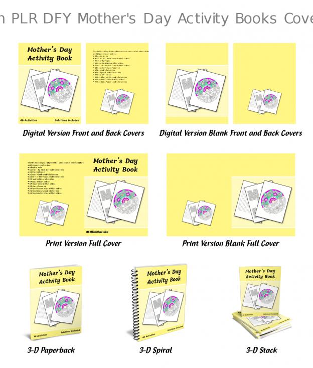Zen PLR DFY Mothers Day Activity Books All Covers