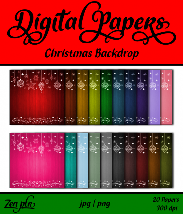 Zen PLR Digital Papers Christmas Backdrop Front Cover