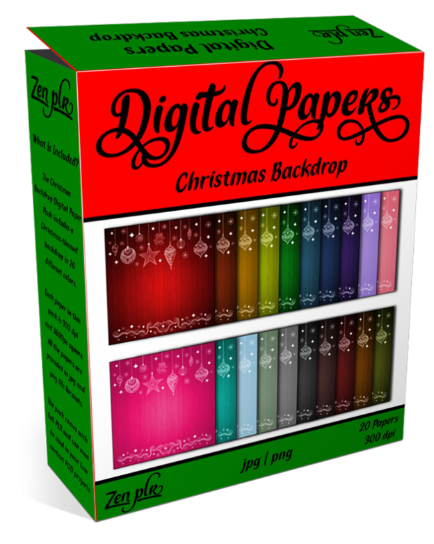 Zen PLR Digital Papers Christmas Backdrop Product Cover