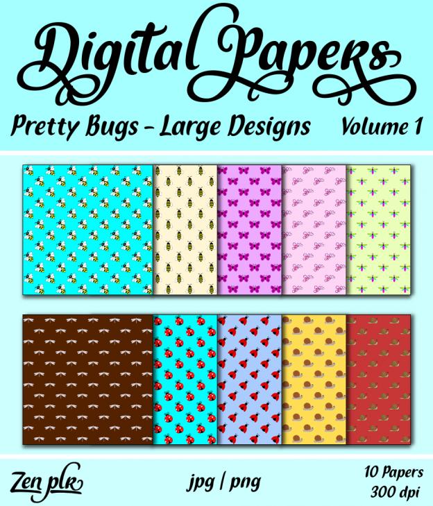 Zen PLR Digital Papers Pretty Bugs Volume 01 Large Designs Front Cover