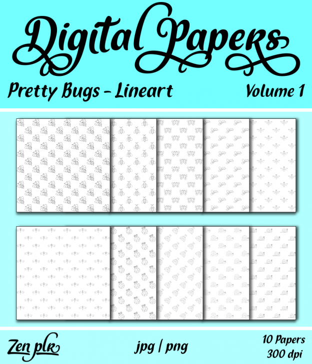 Zen PLR Digital Papers Pretty Bugs Volume 01 Lineart Front Cover
