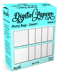 Zen PLR Digital Papers Pretty Bugs Volume 01 Lineart Product Cover
