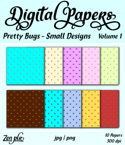 Zen PLR Digital Papers Pretty Bugs Volume 01 Small Designs Front Cover