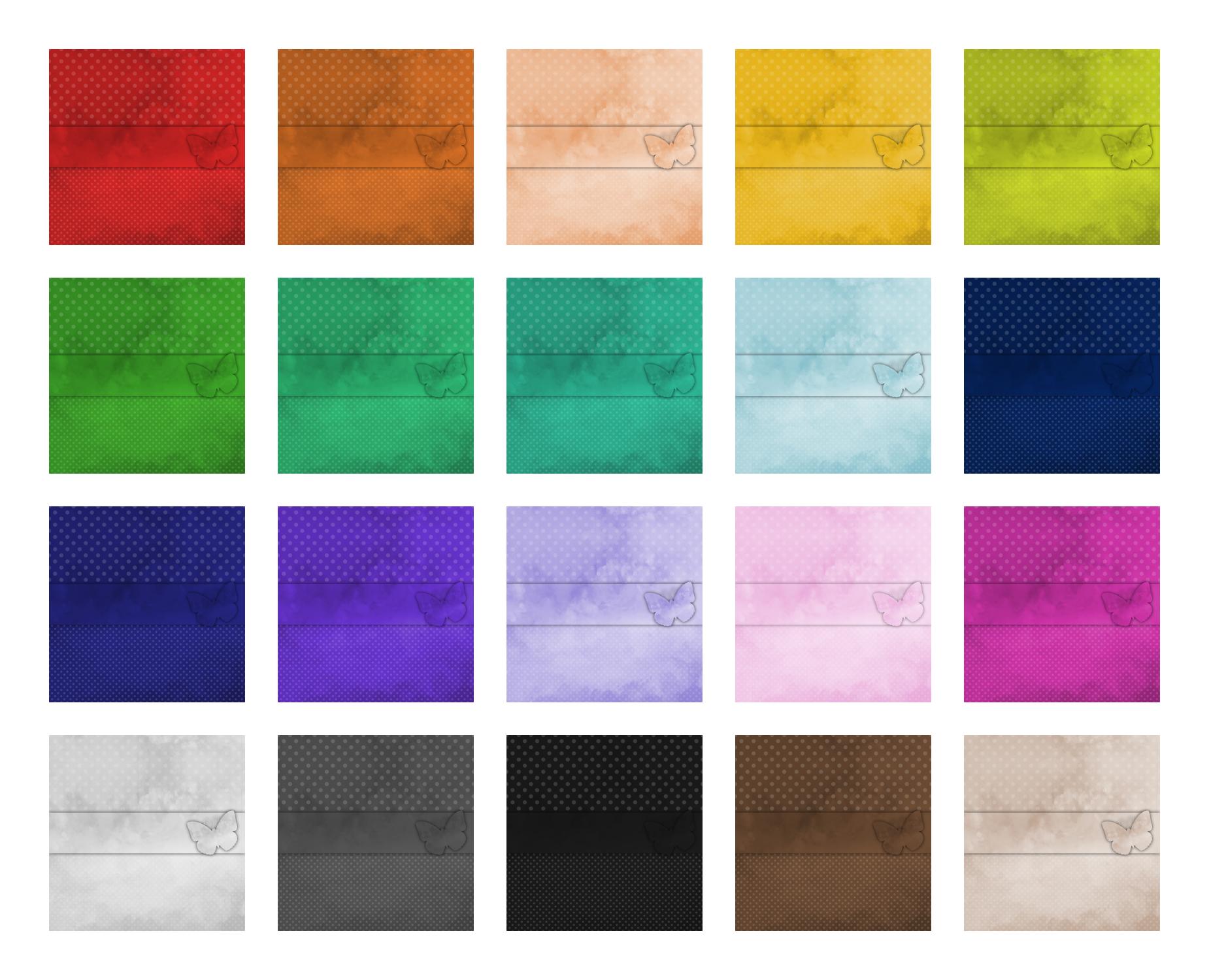 Zen PLR Digital Papers Watercolor Butterflies and Polka Dots