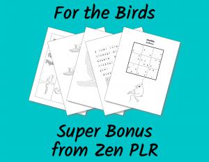Zen PLR For the Birds Super Bonus Graphic