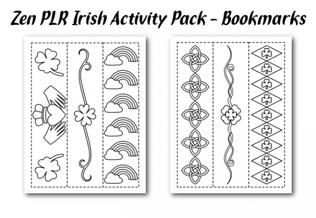 Zen PLR Irish Activity Pack Bookmarks