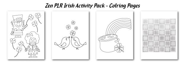Zen PLR Irish Activity Pack Coloring Pages