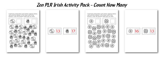 Zen PLR Irish Activity Pack Count How Many