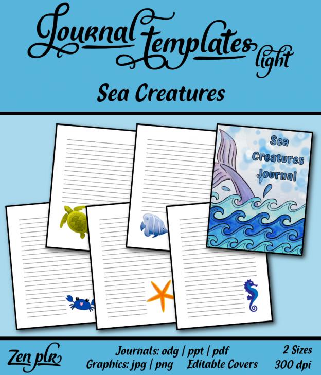 Zen PLR Journal Templates Light Sea Creatures Front Cover