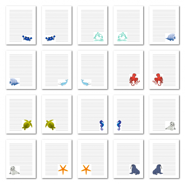 Zen PLR Journal Templates Light Sea Creatures Journal Pages Digital Full Color