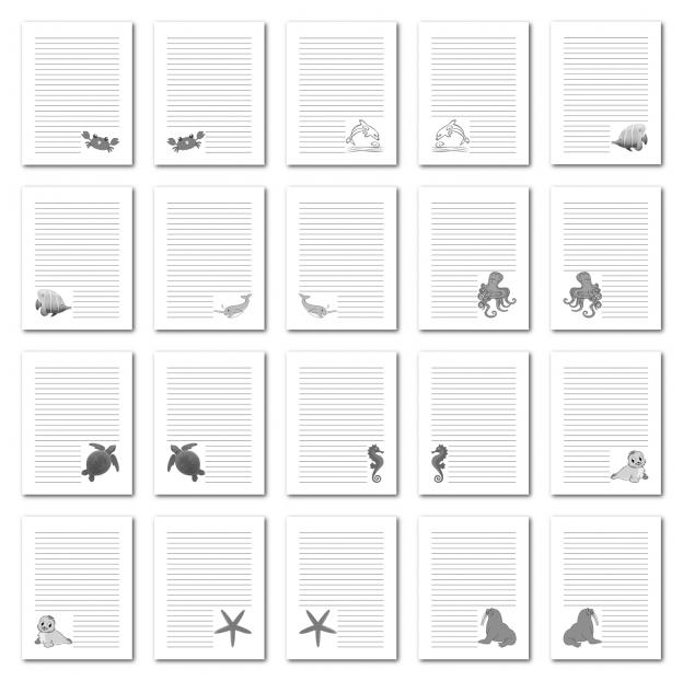 Zen PLR Journal Templates Light Sea Creatures Journal Pages Digital Grayscale