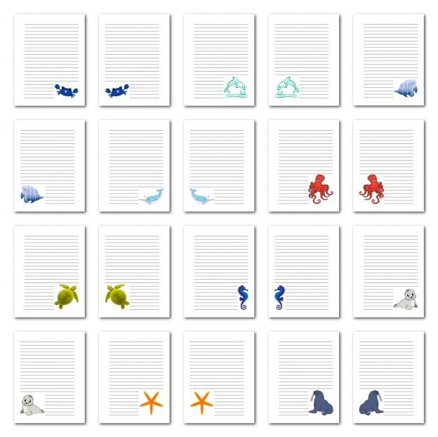 Zen PLR Journal Templates Light Sea Creatures Journal Pages Print Full Color