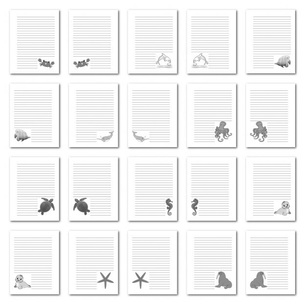Zen PLR Journal Templates Light Sea Creatures Journal Pages Print Grayscale