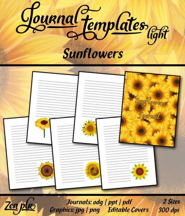Zen PLR Journal Templates Light Sunflowers Front Cover