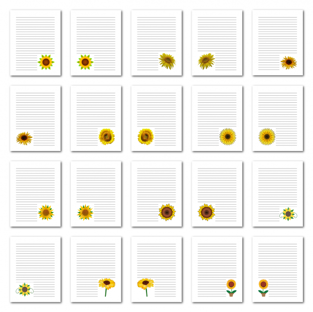 Zen PLR Journal Templates Light Sunflowers Journal Pages Digital Full Color