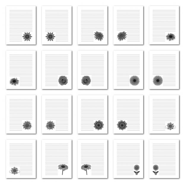 Zen PLR Journal Templates Light Sunflowers Journal Pages Digital Grayscale