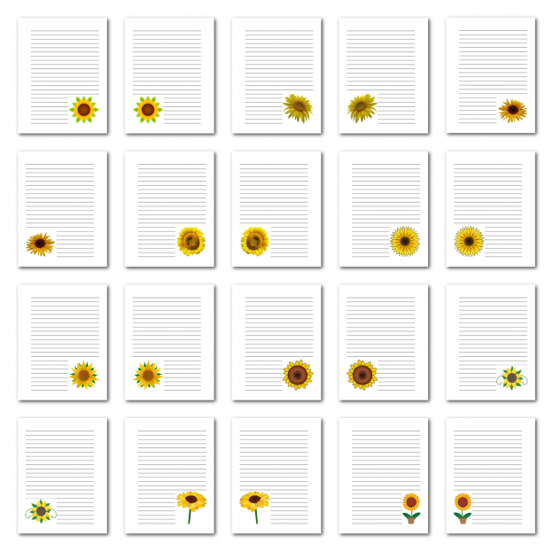 Zen PLR Journal Templates Light Sunflowers Journal Pages Print Full Color