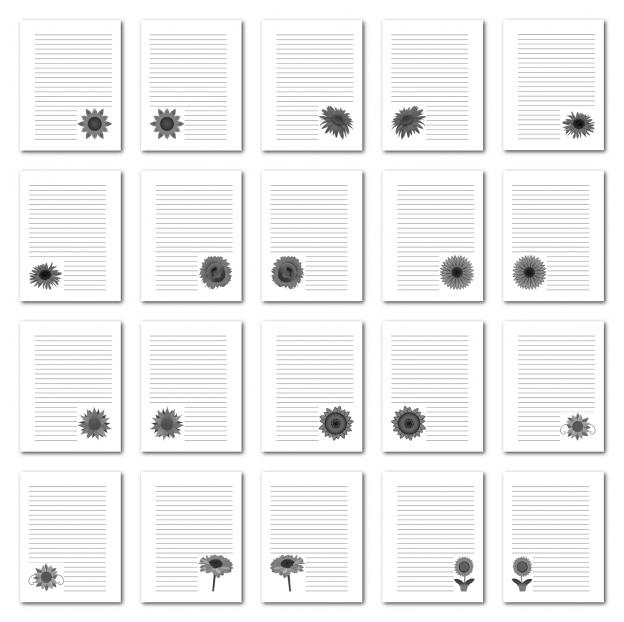 Zen PLR Journal Templates Light Sunflowers Journal Pages Print Grayscale