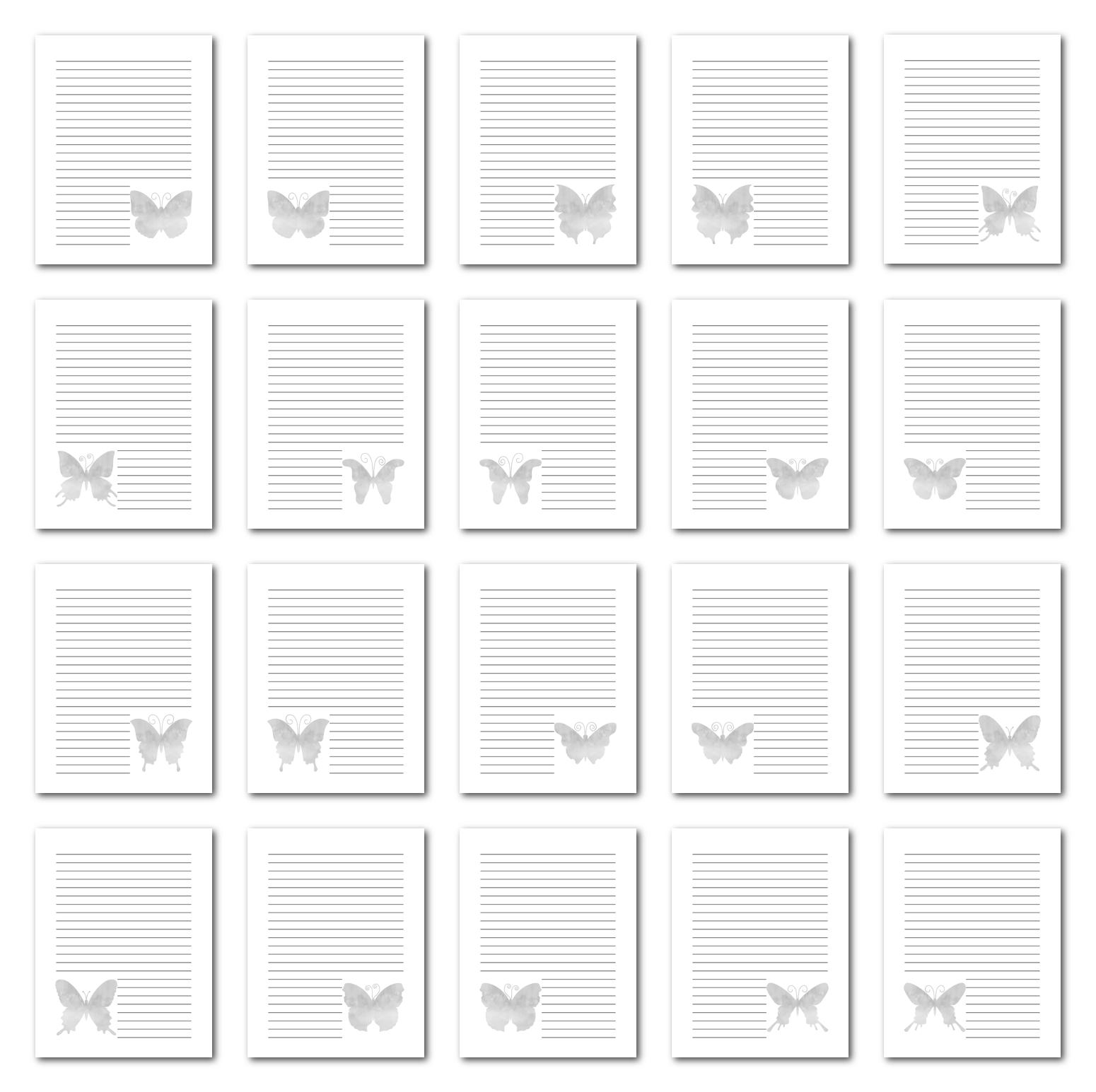 Zen PLR Journal Templates Light Watercolor Butterflies Grayscale Digital Journal Pages