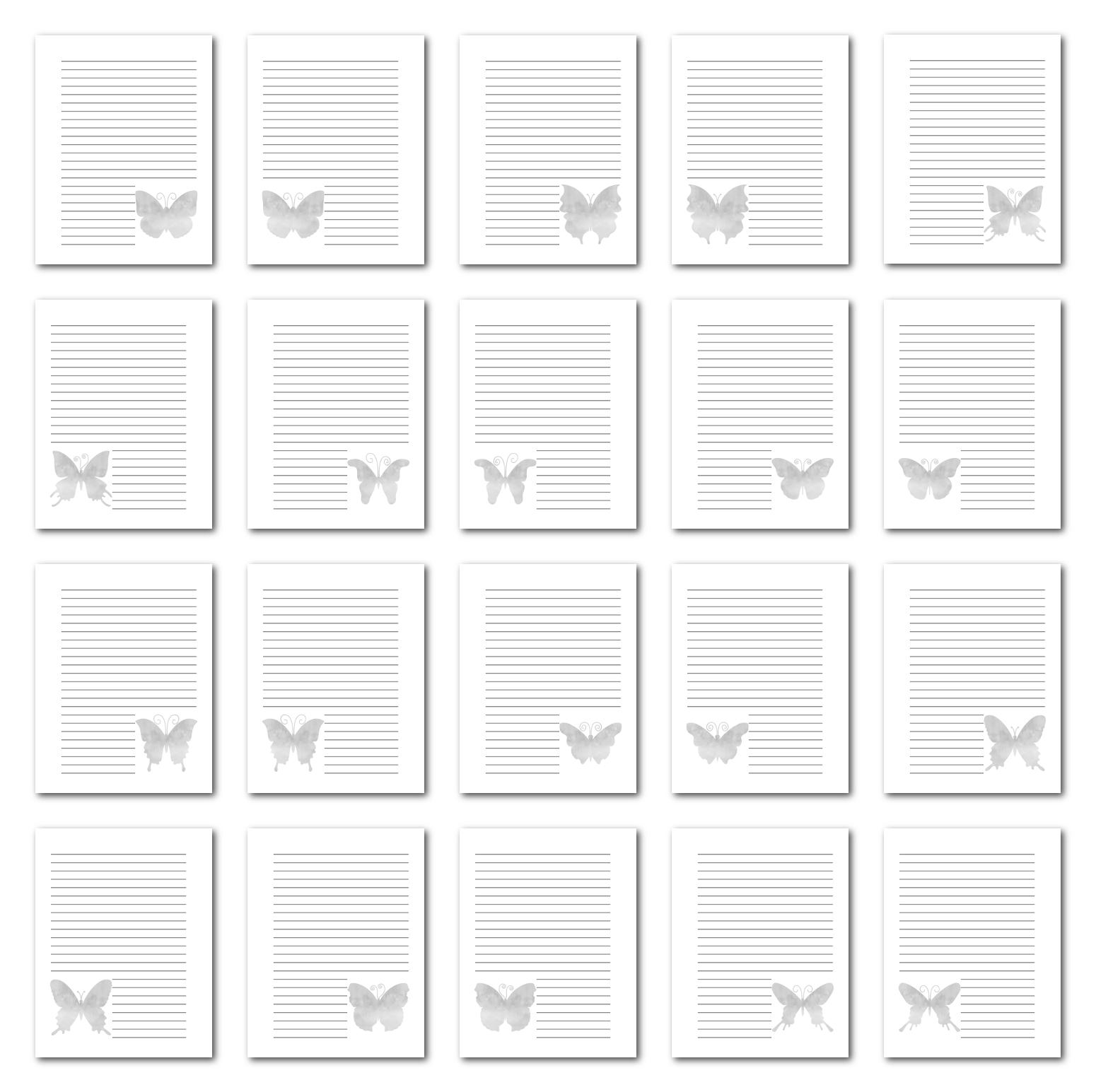 Zen PLR Journal Templates Light Watercolor Butterflies Grayscale Print Journal Pages