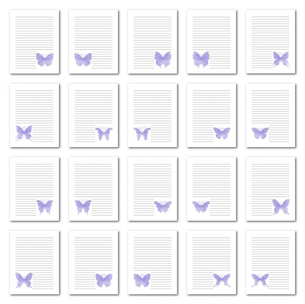 Zen PLR Journal Templates Light Watercolor Butterflies Light Purple Digital Journal Pages