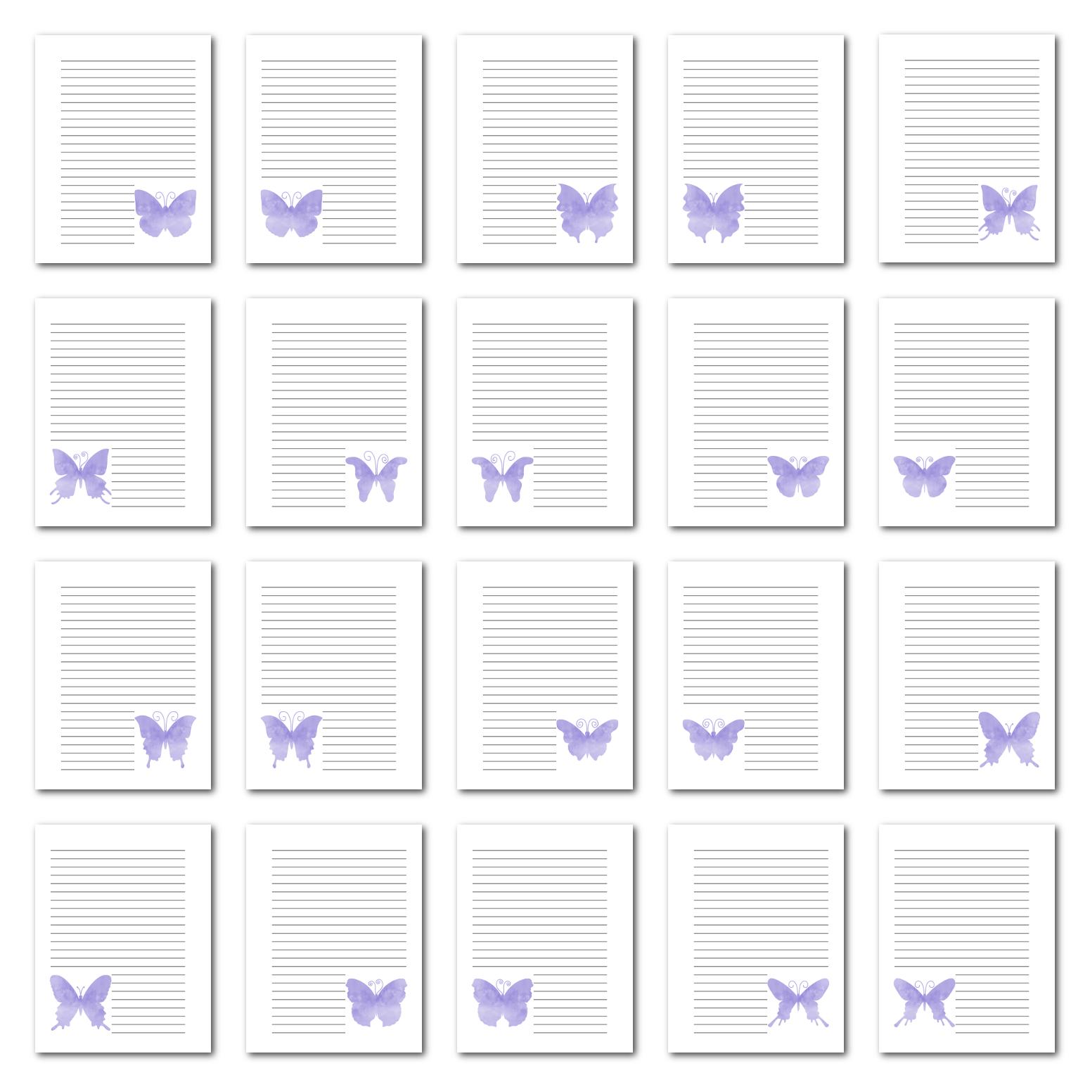 Zen PLR Journal Templates Light Watercolor Butterflies Light Purple Print Journal Pages