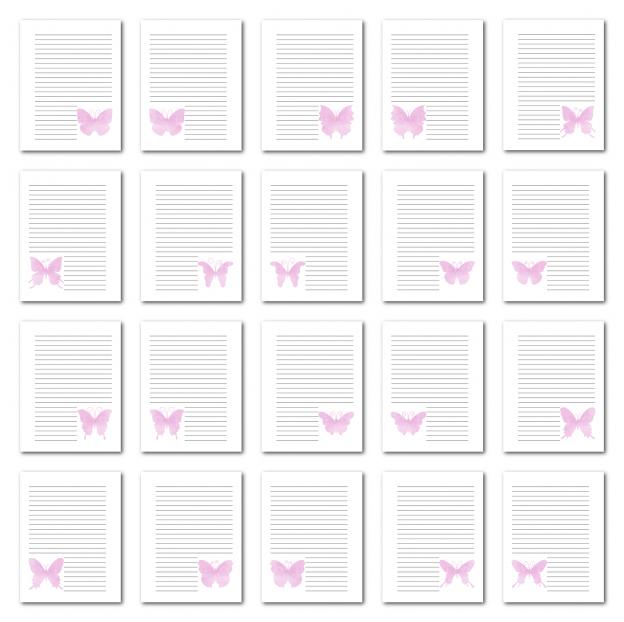 Zen PLR Journal Templates Light Watercolor Butterflies Pink Print Journal Pages
