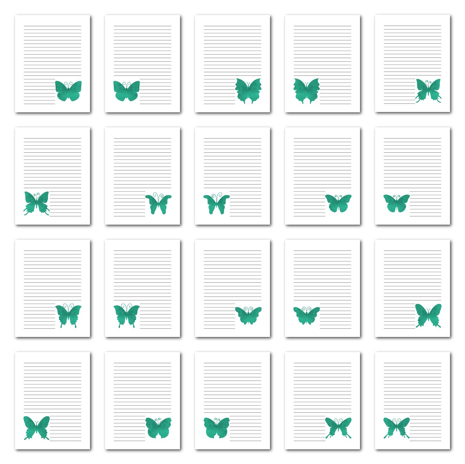 Zen PLR Journal Templates Light Watercolor Butterflies Turquoise Digital Journal Pages