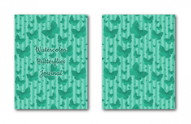 Zen PLR Journal Templates Light Watercolor Butterflies Turquoise Journal Covers