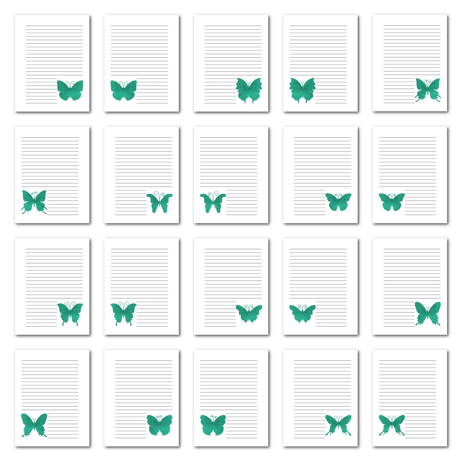 Zen PLR Journal Templates Light Watercolor Butterflies Turquoise Print Journal Pages