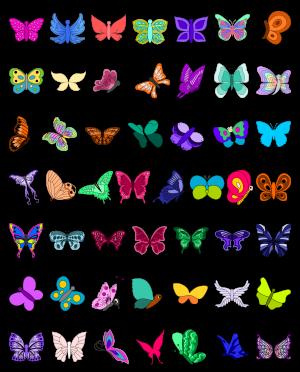 Zen PLR Line Designs Butterflies Full Color All Clipart
