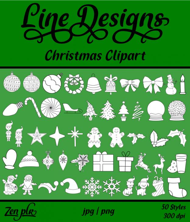 Zen PLR Line Designs Christmas Clipart Front Cover
