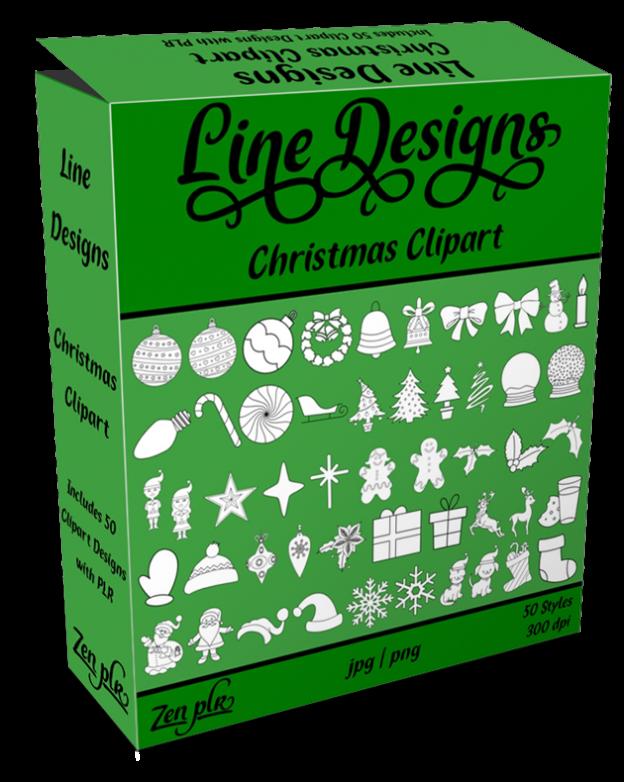 Zen PLR Line Designs Christmas Clipart Product Cover