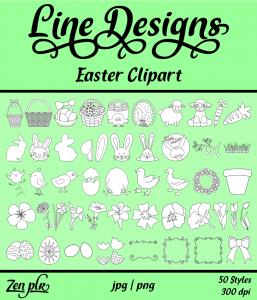 Zen PLR Line Designs Easter Clipart Front Cover