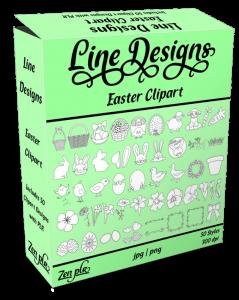 Zen PLR Line Designs Easter Clipart Product Cover
