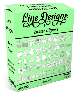 Zen PLR Line Designs Easter Clipart Product Cover