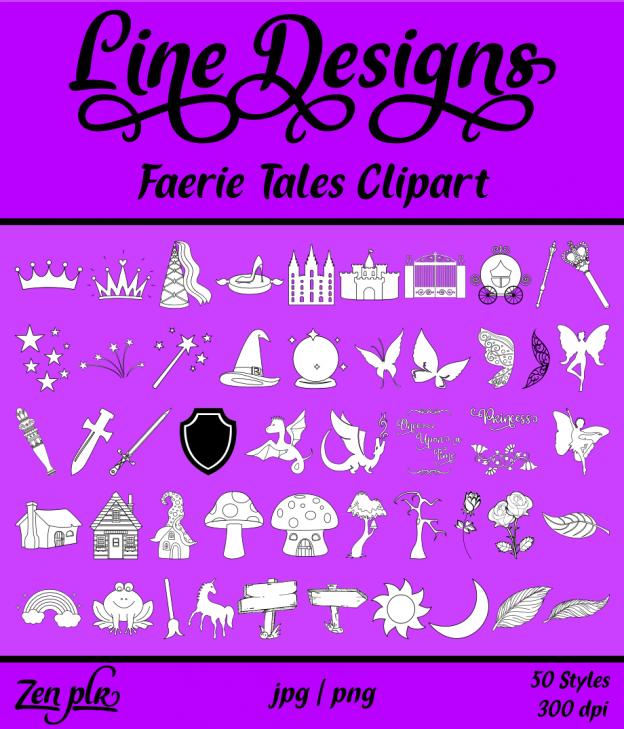Zen PLR Line Designs Faerie Tales Clipart Front Cover