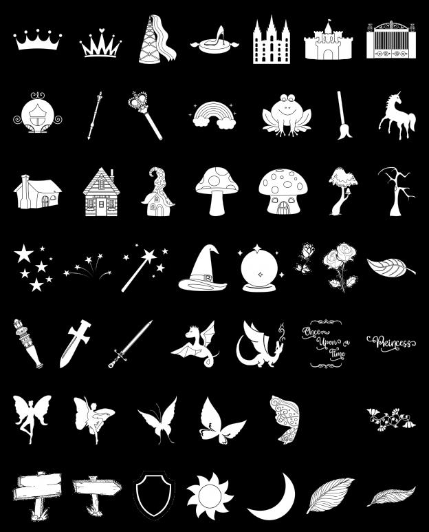 Zen PLR Line Designs Faerie Tales Lineart All Clipart