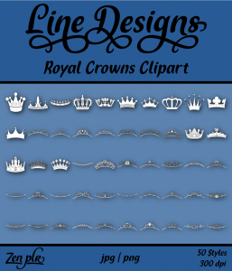 Zen PLR Line Designs Royal Crowns Clipart Front Cover