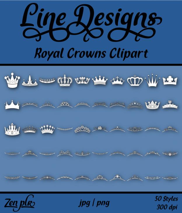 Zen PLR Line Designs Royal Crowns Clipart Front Cover