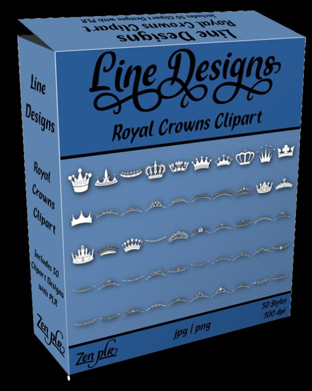 Zen PLR Line Designs Royal Crowns Clipart Product Cover