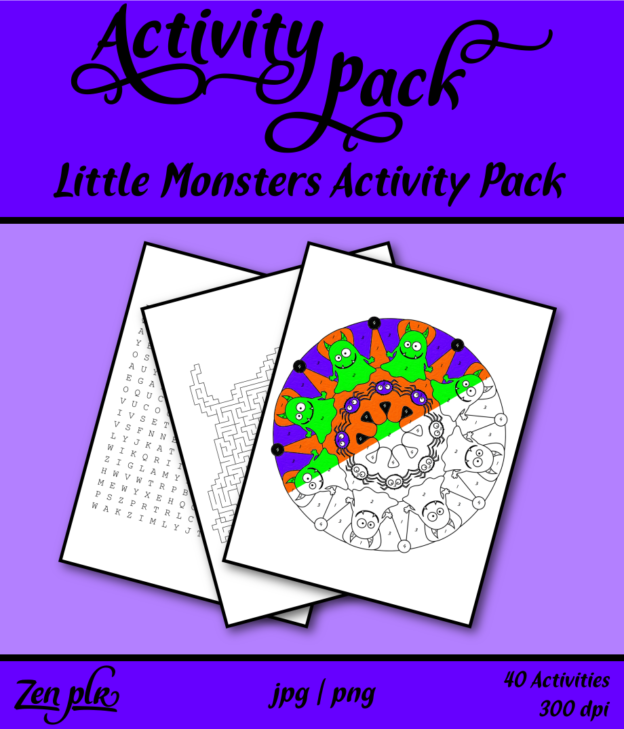 Zen PLR Little Monsters Activity Pack Front Cover