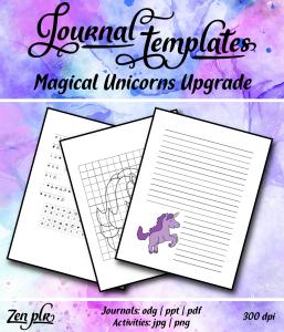 Zen PLR Magical Unicorns Journal Templates Upgrade Front Cover