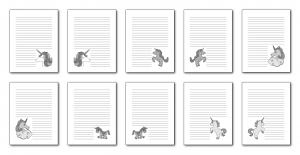 Zen PLR Magical Unicorns Journal Templates Upgrade Journal Pages Grayscale Digital