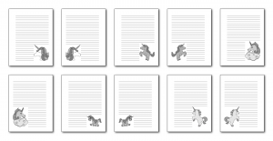 Zen PLR Magical Unicorns Journal Templates Upgrade Journal Pages Grayscale Print