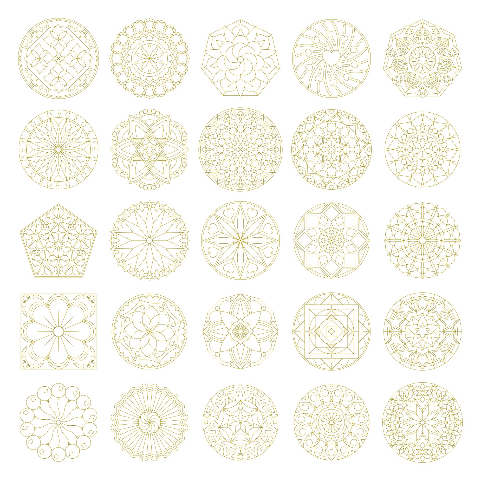 Zen PLR Mandalas Volume 01 Gold Outline All