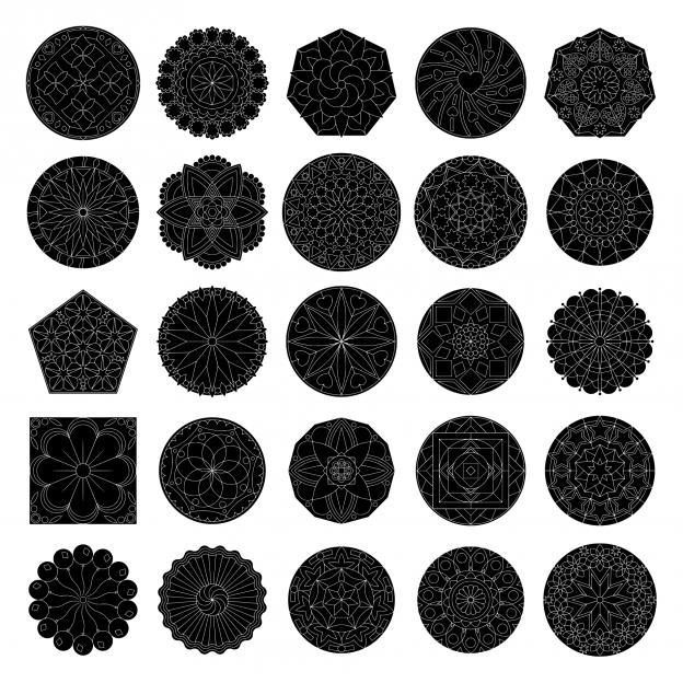 Zen PLR Mandalas Volume 01 Lineart Black Fill with Transparent Lines All