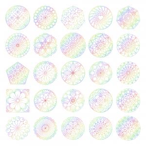 Zen PLR Mandalas Volume 01 Rainbow Outline All