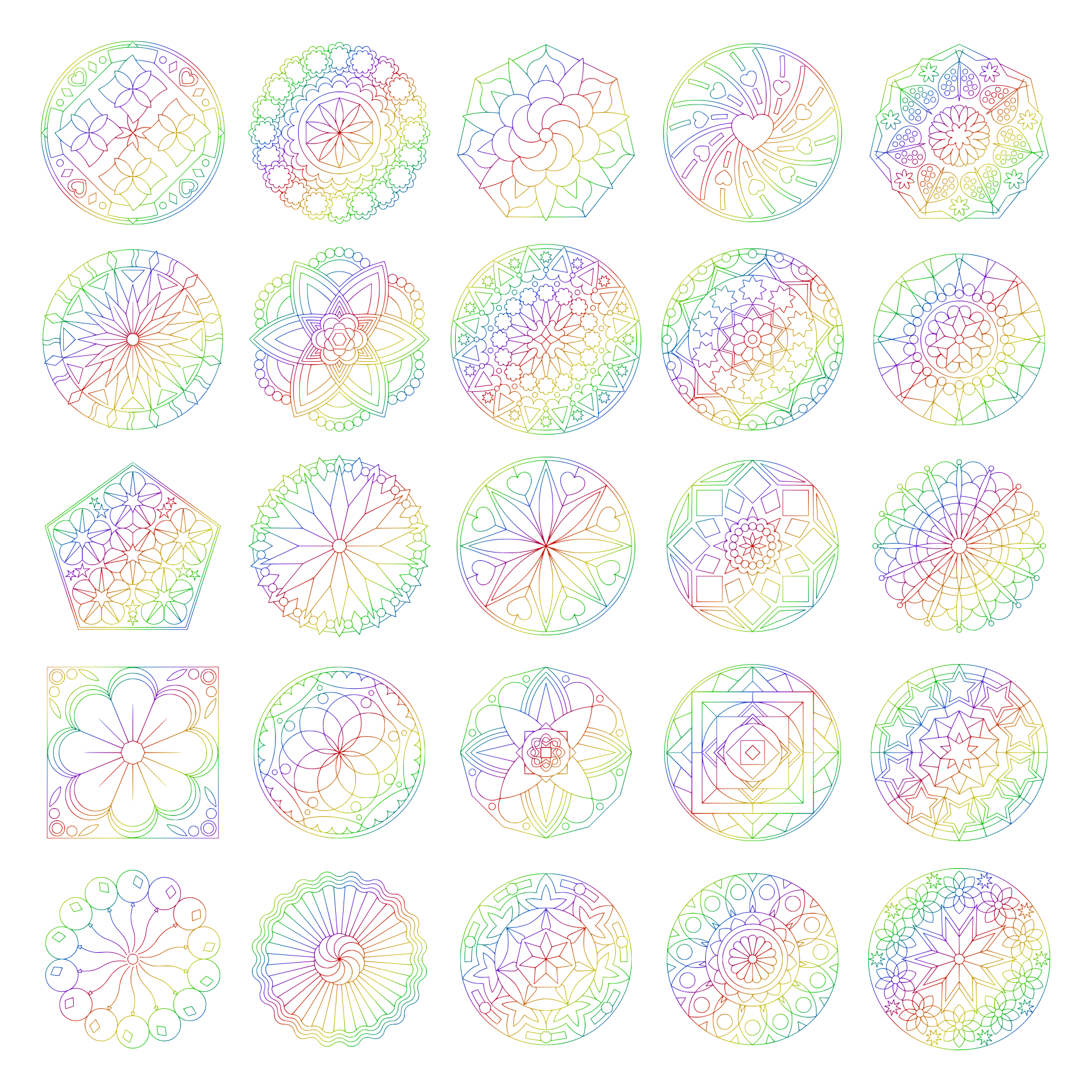 Zen PLR Mandalas Volume 01 Rainbow Outline All